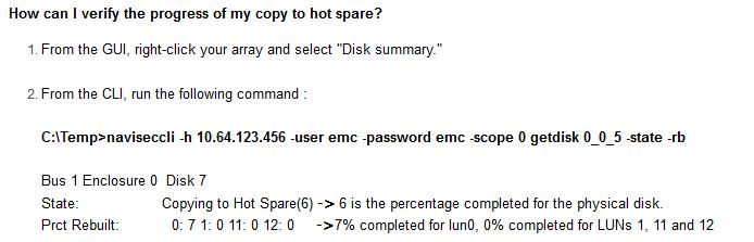 emc copy to hotspare progress